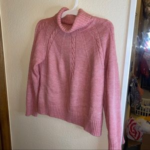 Pink sparkly turtleneck sweater